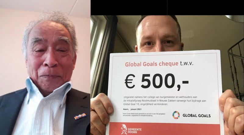 Global Goals-cheque voor Nootmuskaat in Nieuwe Zakken